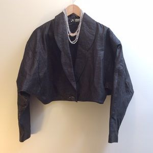 80's LEATHER CROPPED JACKET